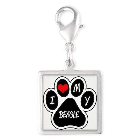I Love My Beagle Silver Square Charm
