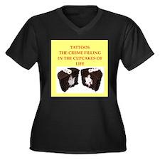 tattoo Women's Plus Size V-Neck Dark T-Shirt