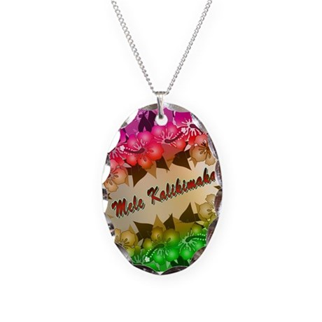 Mele Kalikimaka with flowers Necklace Oval Charm