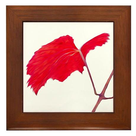 Red Grape Leaf Framed Tile