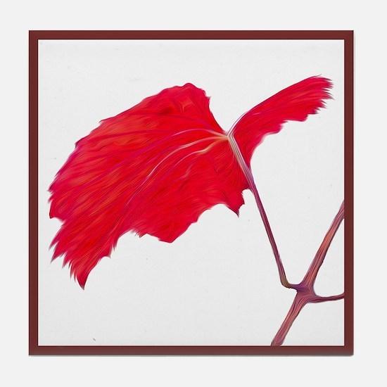 Red Grape Leaf Tile Coaster