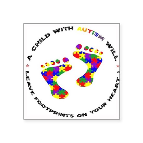 Footprints on your heart circ Sticker (Rectangular