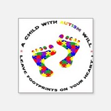 Footprints on your heart circ Sticker (Rectangular