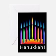 Neon Candles Hanukkah Menorah Vertical Greeting Ca