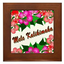 Mele Kalikimaka with flowers Framed Tile