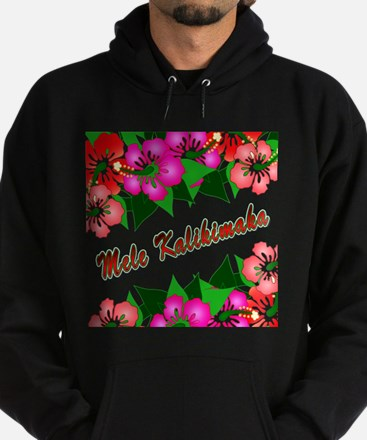 Mele Kalikimaka with flowers Hoodie (dark)