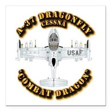 "A-37 Dragonfly Square Car Magnet 3"" x 3"""
