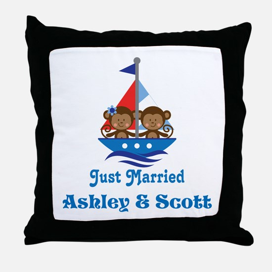 Personalized Just Married Monkeys Throw Pillow