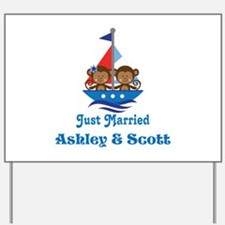 Personalized Just Married Monkeys Yard Sign