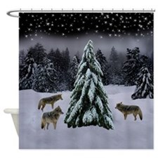 Coyotes in Snow Shower Curtain