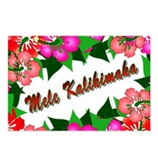 Mele Kalikimaka with flowers Postcards (Package of