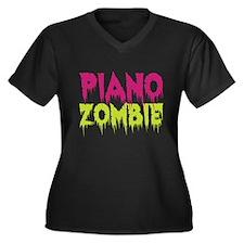 Piano Zombie Women's Plus Size V-Neck Dark T-Shirt