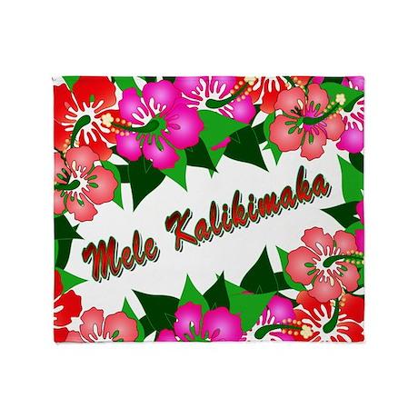 Mele Kalikimaka with flowers Throw Blanket