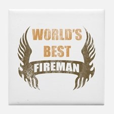 World's Best Fireman (Wings) Tile Coaster