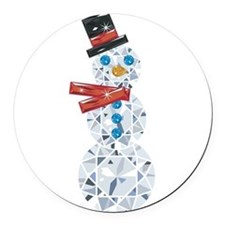 Snow-BLING-man Round Car Magnet