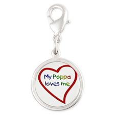 Poppa Silver Round Charm