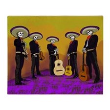 Mariachi Dia de los Muertos Band Throw Blanket