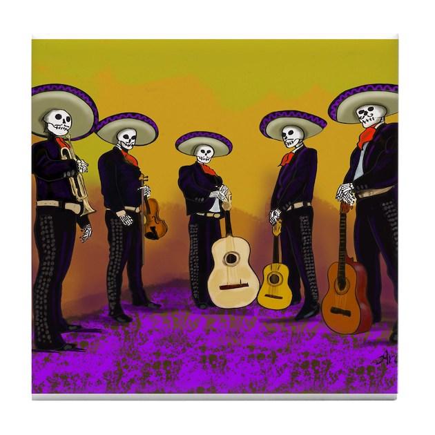 Mariachi Dia De Los Muertos Band Tile Coaster By Ardrasart