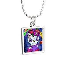 Katrina Kitty Silver Square Necklace
