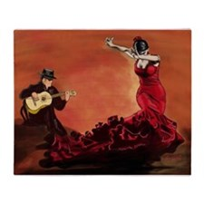 Flamenco Dancer and Guitarist Throw Blanket