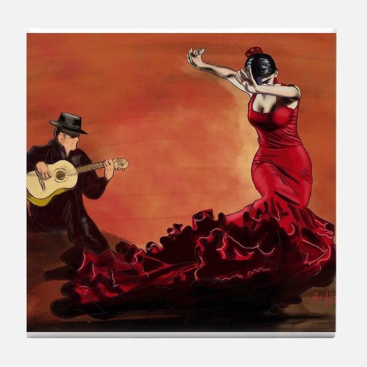 Flamenco Dancer and Guitarist Tile Coaster