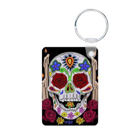 Dia de Los Muertos Skull Aluminum Photo Keychain