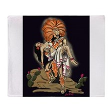 Aztec Warrior and Maiden Throw Blanket