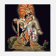Aztec Warrior and Maiden Tile Coaster