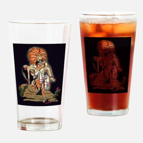 Aztec Warrior and Maiden Drinking Glass