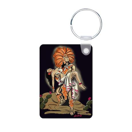 Aztec Warrior and Maiden Aluminum Photo Keychain