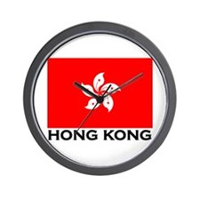 Hong Kong Flag Gear Wall Clock
