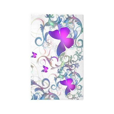 Elegant butterfly Swirls 3'x5' Area Rug
