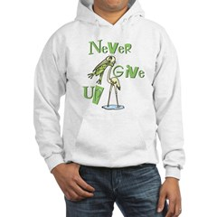 Never Give Up! Frog Choking Bird Hoodie