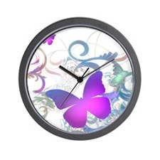 Elegant butterfly Swirls Wall Clock