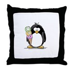 Ice Cream Penguin Throw Pillow