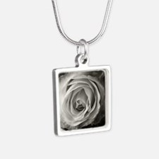 Another Rose Silver Square Necklace