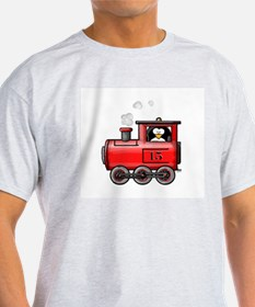 Penguin on a Train Ash Grey T-Shirt