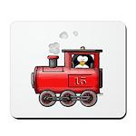 Penguin on a Train Mousepad