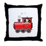 Penguin on a Train Throw Pillow