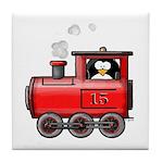 Penguin on a Train Tile Coaster