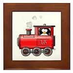 Penguin on a Train Framed Tile