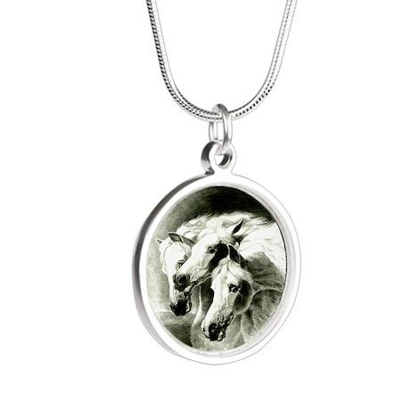 Pharaoh's Horses Silver Round Necklace