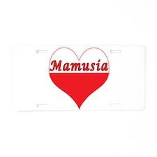 Mamusia Polish Heart Aluminum License Plate