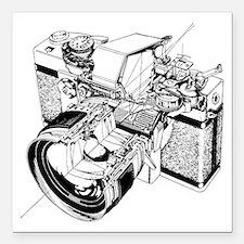 """Cute Film camera Square Car Magnet 3"""" x 3"""""""