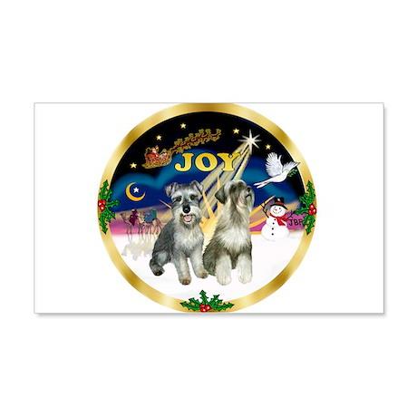 JoyWreath-2Schnauzers (uncr) 20x12 Wall Decal
