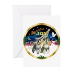 JoyWreath-2Schnauzers (uncr) Greeting Cards (Pk of