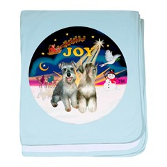 JoyWreath-2Schnauzers (uncr) baby blanket