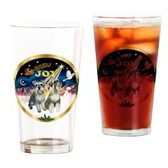 JoyWreath-2Schnauzers (uncr) Drinking Glass