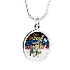 JoyWreath-2Schnauzers Silver Round Necklace