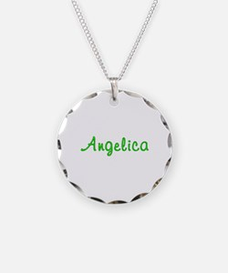 Angelica Glitter Gel Necklace Circle Charm